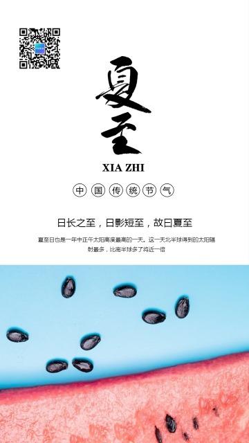 文艺简约夏至节气日签手机海报