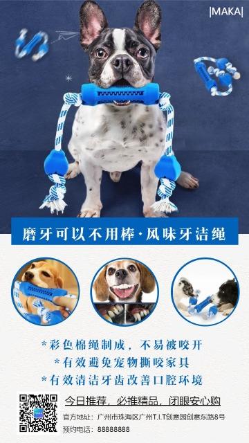 蓝色简约宠物生活促销宣传手机海报