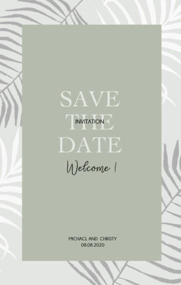 灰绿色热带植物杂质风ins小清新婚礼邀请函请柬