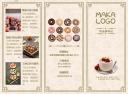 小麦色卡其色简约美食甜品蛋糕店铺促销宣传三折页
