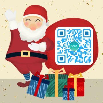 圣诞节公众号卡通简约风微信引导关注促销宣传二维码