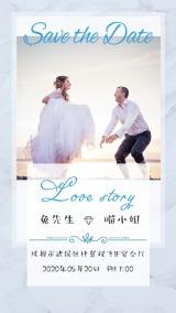 韩式大理石简约时尚结婚请柬婚礼邀请函海报