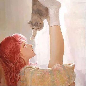 灰色手绘唯美少女和猫插画头像
