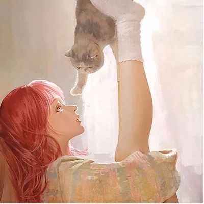 青春唯美少女和猫插画头像