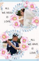 手绘水粉插画粉蓝色清新婚礼请柬