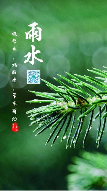 二十四节气清新文艺雨水节气海报