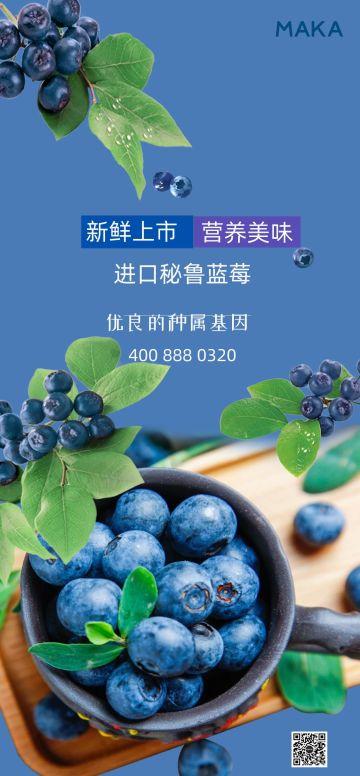 蓝色实景蓝莓进口食品水果全屏海报