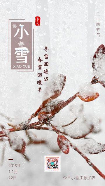 简约清新大气设计风格二十四节气之小雪宣传海报