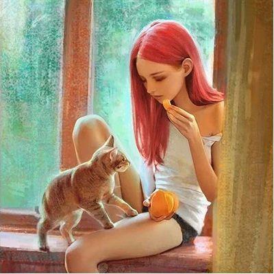 清纯唯美小萝莉和猫插画头像