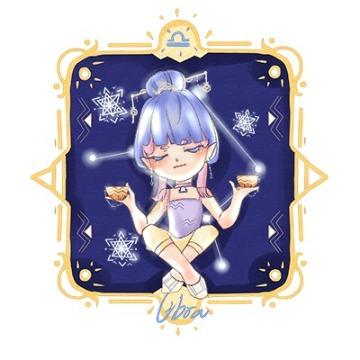 卡通手绘女孩蓝色星空天秤座朋友圈社交微信头像