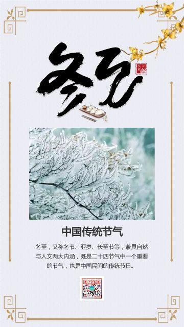 灰色清新文艺中国传统二十四节气之冬至知识普及宣传海报