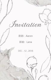 小资西式大气简欧手绘花朵典雅柔美白色婚礼请柬邀请函喜帖