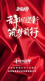 2019现代时尚大红春节新年除夕祝福海报