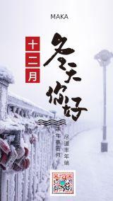白色清新文艺风冬天你好十二月日签节气日签手机宣传海报