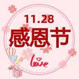 感恩节红色简约风节日活动宣传推广微信公众号封面小图