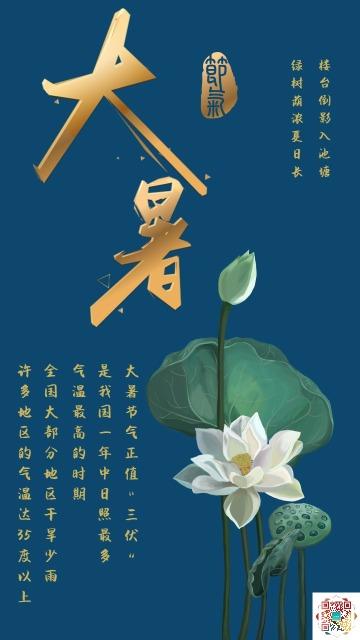 古典中国风蓝色大暑文化宣传海报