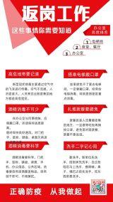 红色简约武汉疫情企业商家复工返岗返程开业防控防护指南宣传海报