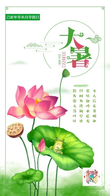 简约中国风二十四节气之大暑创意活动海报