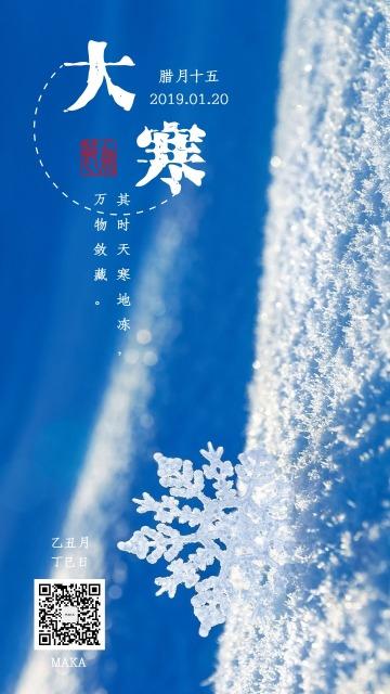 大寒节气寒气之逆极白蓝海报