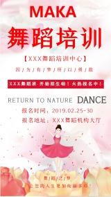 文艺唯美舞蹈培训机构 舞蹈培训班招生宣传活动手机海报