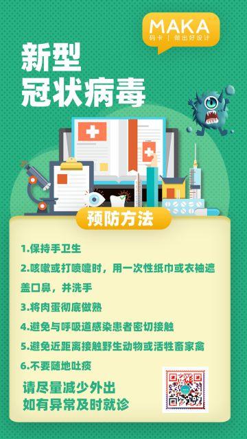 小清新绿色医疗健康行业冠状病毒预防知识宣传海报