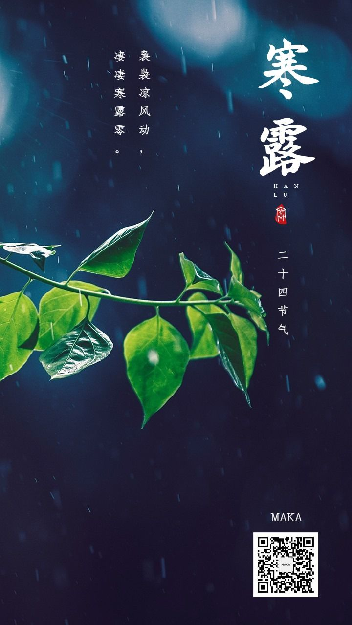 寒露二十四节气蓝色绿叶雨水海报