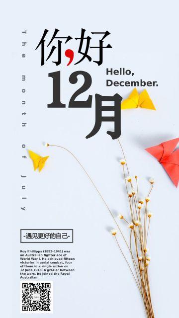 你好12月清新淡雅励志日签个人海报