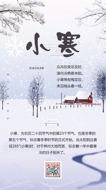 小寒二十四节气创意海报节日贺卡祝福 中国传统习俗