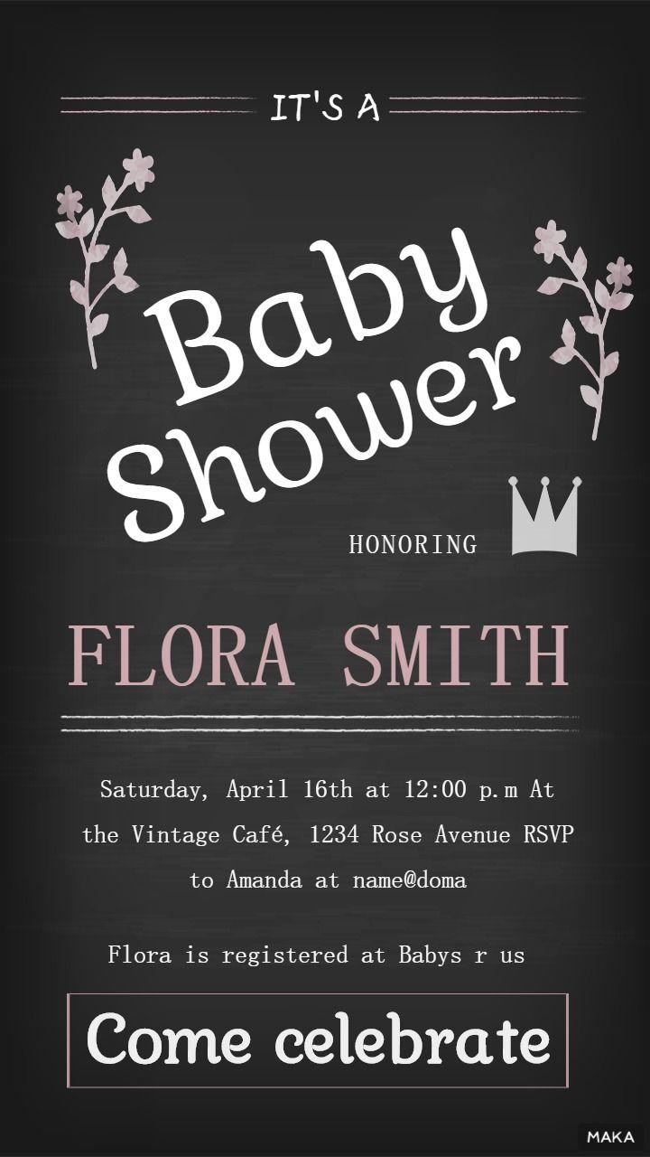 英文版手绘黑色调Baby  Shower