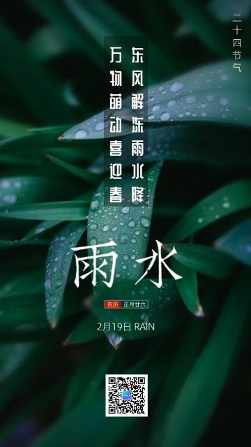 雨水节气简约风格活动宣传海报模板