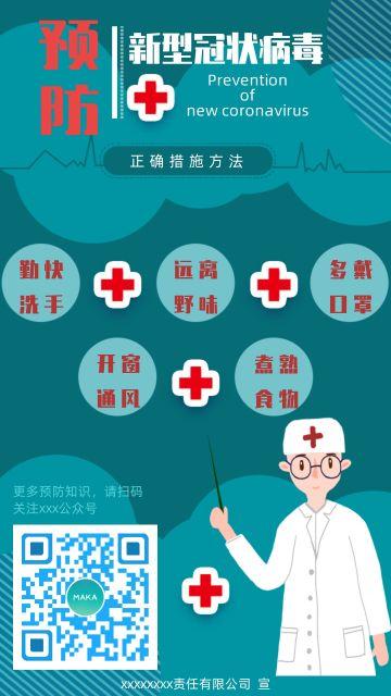 冠状病毒预防医疗卫生健康预防流感冒疫情防范呼吸病毒宣传海报
