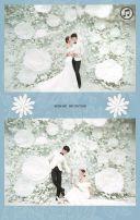唯美浪漫蓝色花朵蕾丝婚礼邀请函