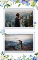 浪漫蓝色水彩花婚礼请柬