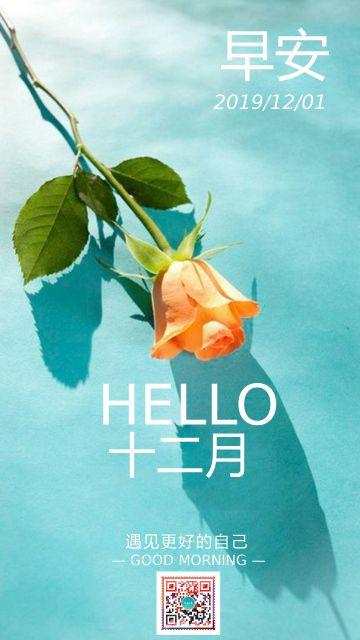 简约小清新早安你好十二月问候祝福朋友圈日签海报