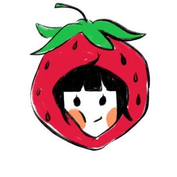 戴着草莓头套的小女孩