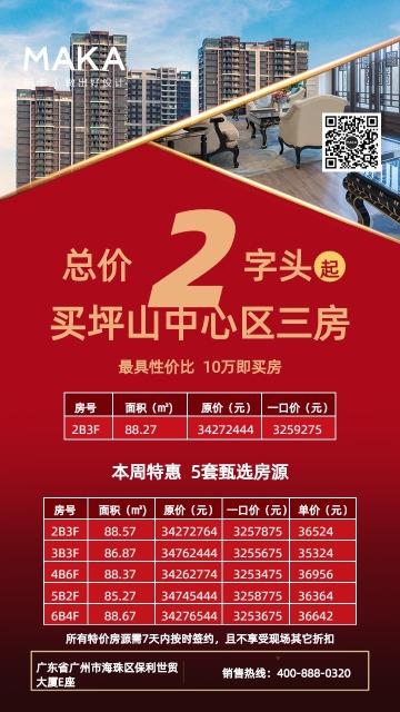 房地产单价突出户型价格宣传海报