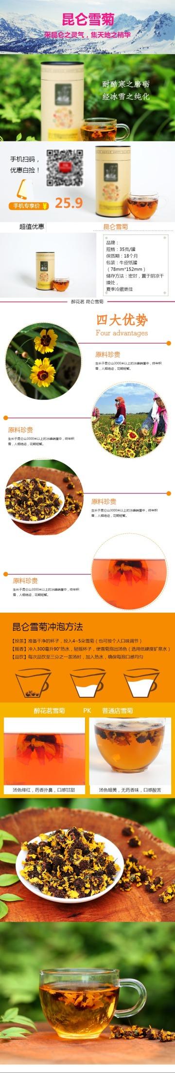 橙色清新文艺生活花茶电商详情图