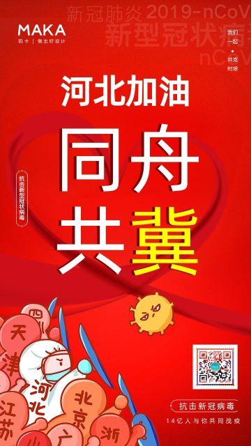 红色简约风格疫情防控河北加油公益宣传手机海报