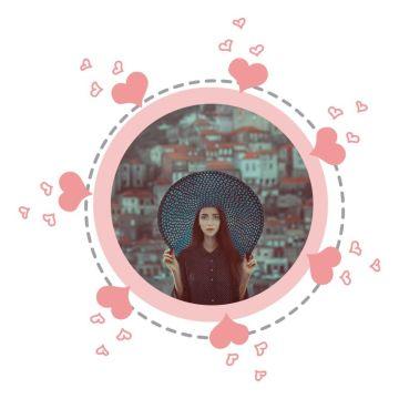 心形情人节粉色卡通社交头像