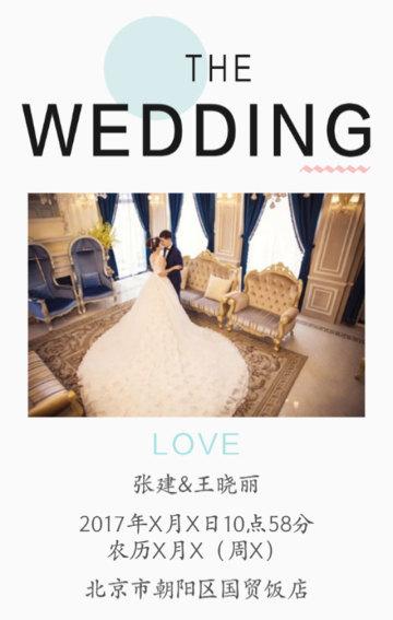 简约清新唯美婚礼邀请函祝福贺卡