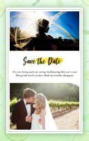 白绿自然系黄色柠檬小清新婚礼邀请函