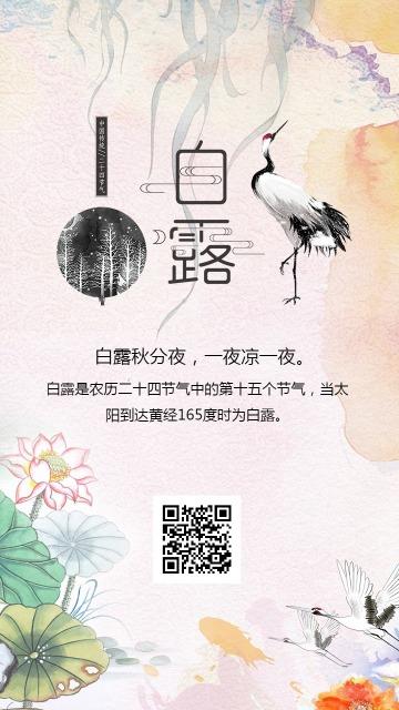 二十四节气白露彩色水墨海报