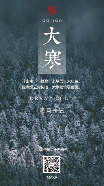 大寒节气寒气之逆极万物敛藏白蓝简约高级海报