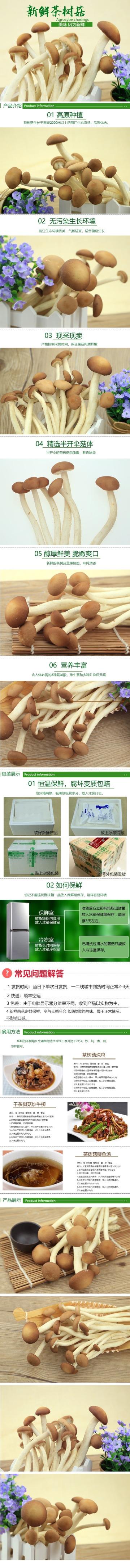 清新简约百货零售美食干货茶树菇促销电商详情页