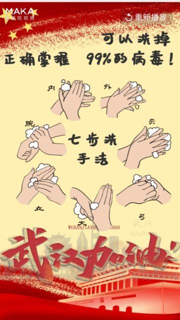 武汉加油疫情防范七步洗手法预防新型肺炎冠状病毒中国风宣传视频