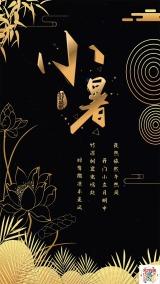中国大气金色黑色小暑文化宣传海报