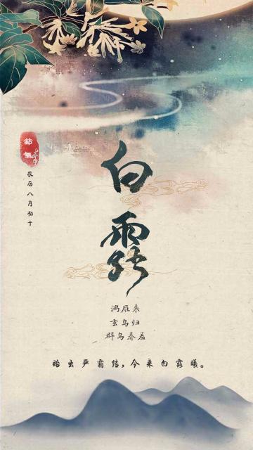 白露中国风二十四节气文化宣传海报