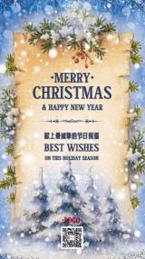 圣诞祝福圣诞卡蓝色底白雪花