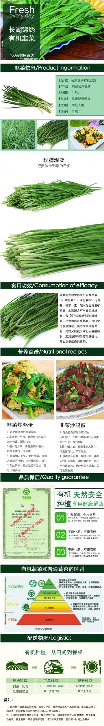 绿色清新生鲜果蔬韭菜电商宣传营销宝贝详情