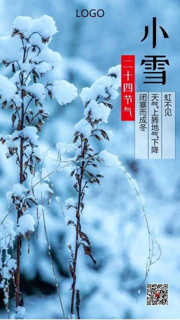 蓝色清新小雪二十四节气海报 雪景